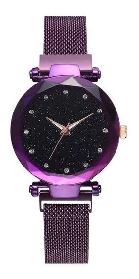 Relógio De Pulso Feminino Roxo Estrelado Pulseira Magnética
