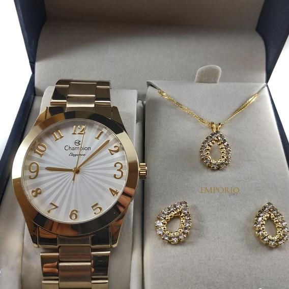 Relógio Champion Feminino Cn26564 + Brinde Colar E Brincos