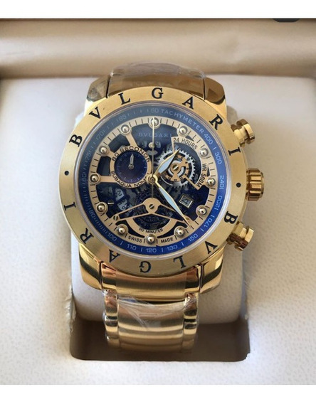 Relógio Masculino Bullgari Esqueleto Dourado Mostrador Azul