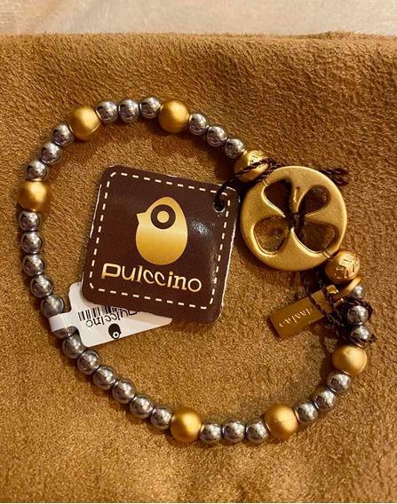 Pulsera Pulccino Con Dice En Chapa De Oro De 24k