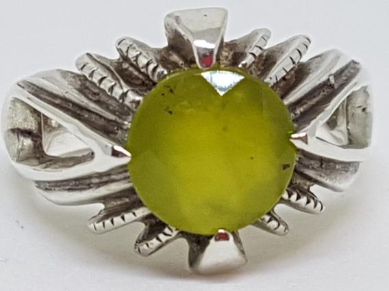Anel Com Pedra Opala Verde Em Prata Com Contraste 800