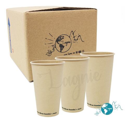 Lagnie 50 Vasos Bambú Biodegradables 16 Oz, 473 Mililitros
