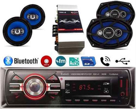 Kit Radio Mp3 Bluetooth Aux +6x9 55w+6 Pol 55w