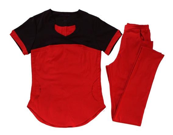 Ambo Medico Spandex Rojo Y Negro