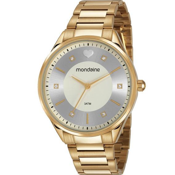 Relógio Mondaine Prata Dourado Strass Coração 53650lpmvde1