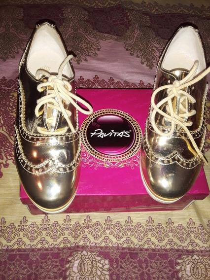 Bellos Zapatos Oxford Dorados, Pavitas, Talla 34. Poco Uso.