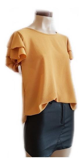 Remera Blusa Mujer Manga Corta Con Volados De Tela Crep