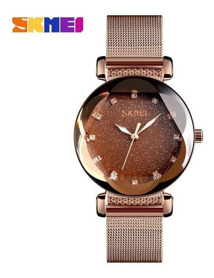 Relógio Feminino Skmei Céu Estrelado Vidro Lapidado Rosé