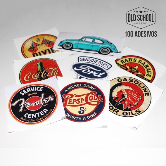 Kit 100 Adesivos Marcas Antigas Retro Vintage Carros Antigos