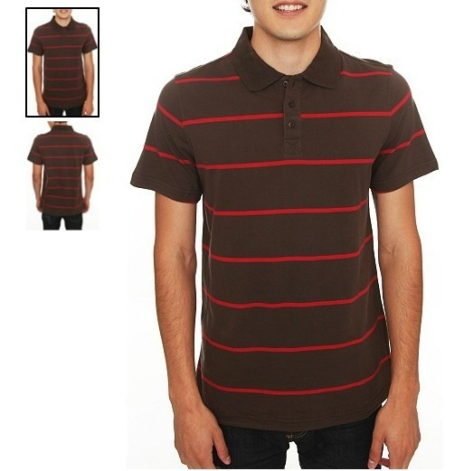 Hot Topic Playera Polo Cafe Polluted Brown And Red Striped