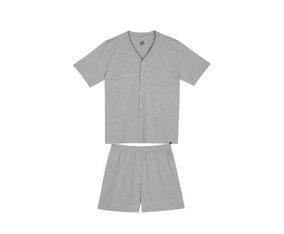 Pijama Masculino Manga Curta Lupo Camisa Com Botão