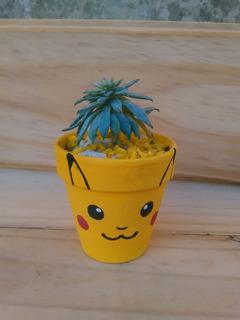 Suculenta Con Maceta Nº7 De La Cara De Pikachu