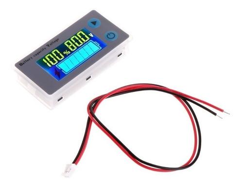 Voltímetro Dc Digital 12v 24v 36v 48v Medidor Nível De Carga Da Bateria Porcentagem C/ Sensor De Temperatura Ambiente