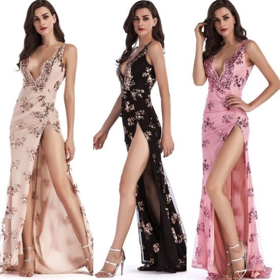 Vestido Largo Fiesta Gala Elegante Brillos Sexy Tajo