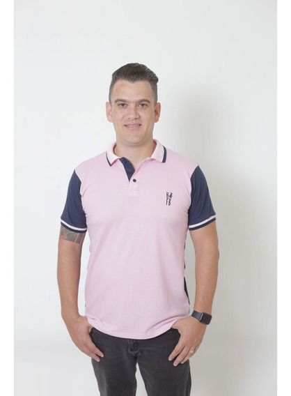 Camisa Polo Dual Cor Rosa E Marinho