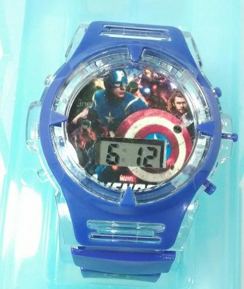 Relógio Vingadores Capitão América Kit C/ 3 Luzes E Piscas