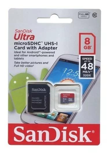Cartao Memoria Sandisk 8gb Sd Ultra C/ Adaptador 48mb/s