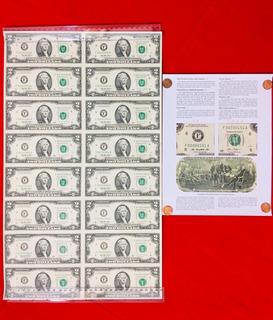 16 Billetes De 2 Dolares,de 1995 Sin Cortar Una Sola Plancha