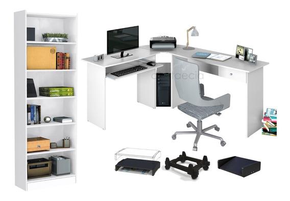 Kit Escritório Escrivaninha Estação De Trabalho Mais Armário Estante Multi Uso Mais Suporte Monitor, Cpu E Ergonômico