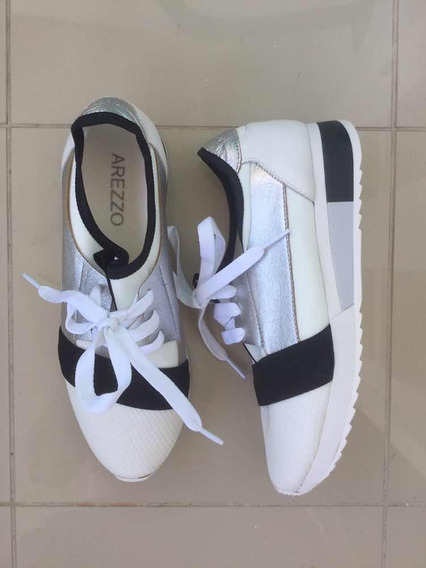 Tênis Arezzo Sneaker Branco Preto Prata Multimaterial Novo