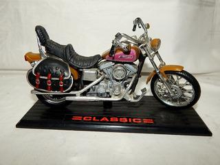 Miniatura Moto Harley Davidson Classic Dourada - 19 Cm