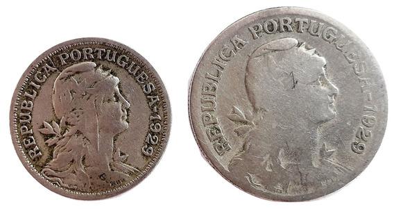 Portugal Set De 2 Monedas Del Año 1929 - 50 Cent Y 1 Escudo