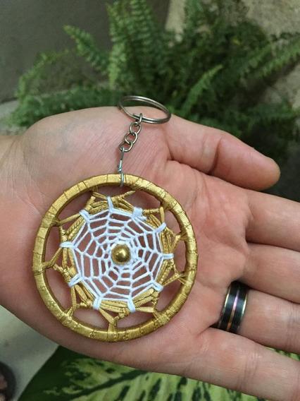 Chaveiro Filtro Dos Sonhos Croche Mandala Colorida Dourado
