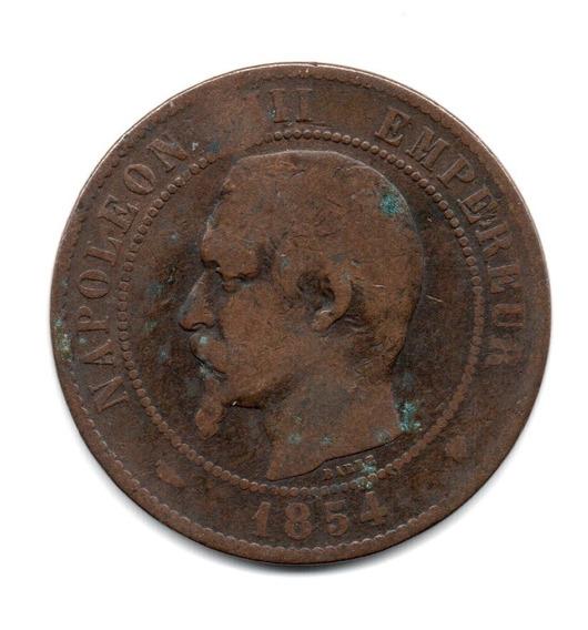 Moneda Francia 10 Centimes Año 1854 Ma Km#771.6