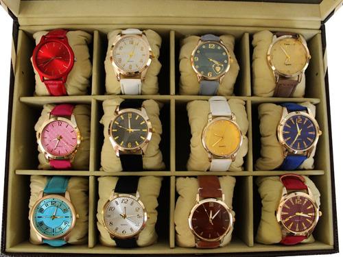 Kit 5 Relógios Femininos C/ Pulseira Em Couro + Caixa + Bate