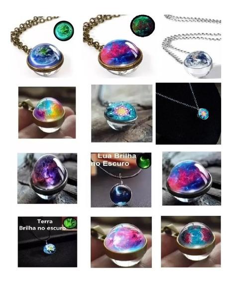 Colar Sistema Solar, Lua, Terra, Planetas, Galáxias, Nebula