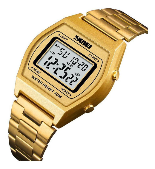Relógio Masculino Feminino Skmei 1328 Digital Dourado Retrô