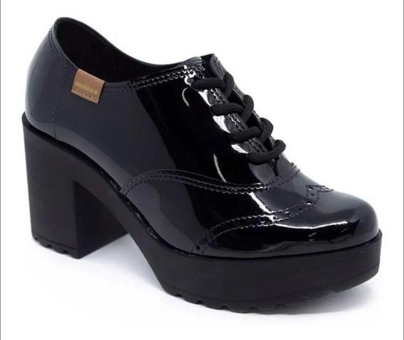 Sapato Moleca Plataforma Oxford Salto Grosso Verniz - Frete Grátis