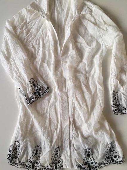 Camisa Sweet Blanca Con Detalles Bordados En Mangas Y Bordes