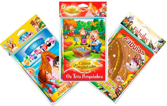 Coleções Diversas Fábulas Clássicos E Colorir 96 Livros