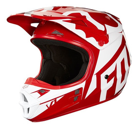 Capacete Fox V1 Race 18 - Vermelho/branco