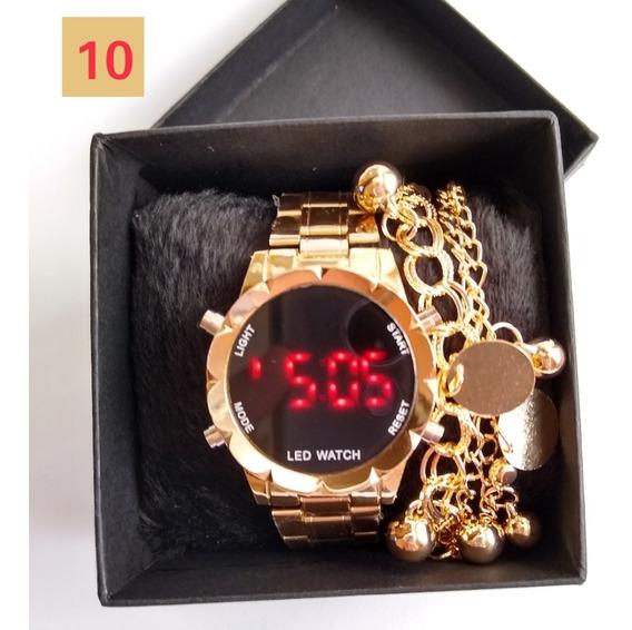 Relógios Feminino Digital + Caixa & Pulseiras - 10 Unidades