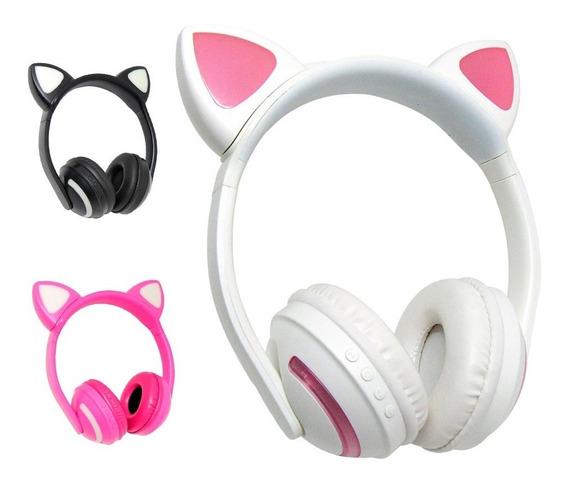 Fone De Ouvido Headphone Gatinha Bluetooth Led Com 7 Cores