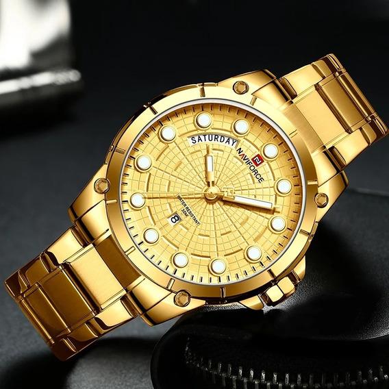 Relógio Naviforce Masculino Luxo Dourado