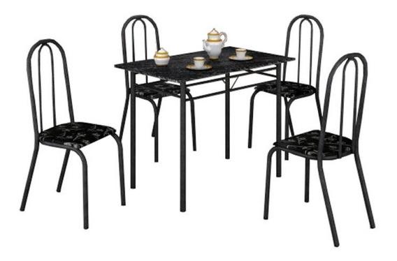 Conjunto Mesa Com 4 Cadeiras Para Cozinha Preta Ou Branca