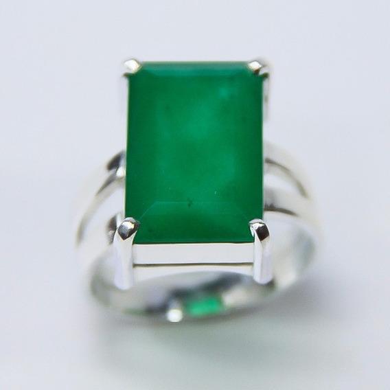 Anel Em Prata Com Jade Natural