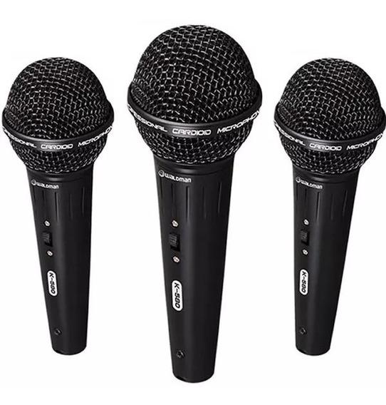 Kit 3 Microfones K-580 Waldman Cachimbo Cabo Maleta Promoção