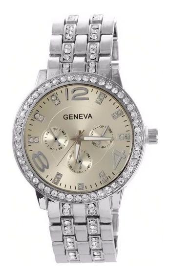 Relógio Feminino Geneva Original Strass Aço Inoxidável Prata