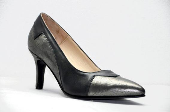 Zapato Mujer Stiletto Elegante 100% Cuero Negro Zap Risso