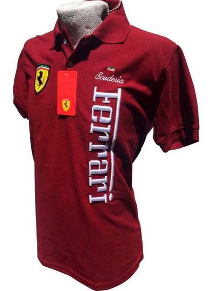 Playera Tipo Polo Ferrari Color Vino