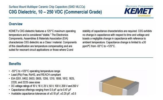Capacitor Kemet Smd 0805 22pf 100v 125 Graus Kit 25 Pçs Novo
