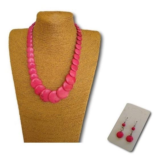 Conjunto Colar + Brincos Pedra Howlita Rosa Ref 9891