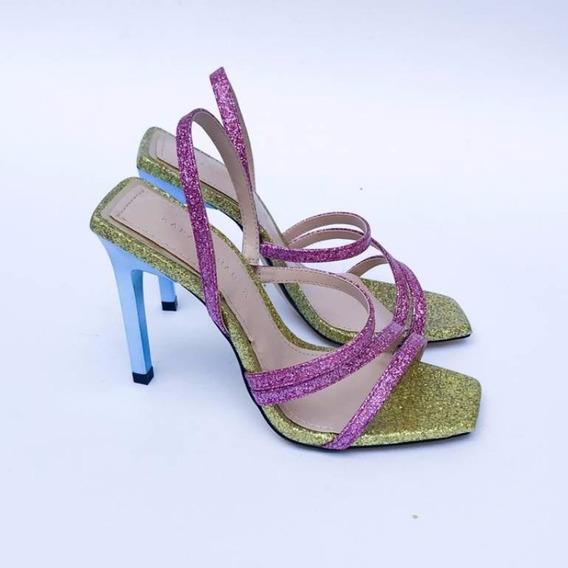 Sandalias De Tacón Glitter, Zara 23.5