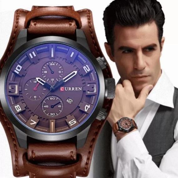 Relógio Masculino Pulseira Couro Curren 8225 Prova D