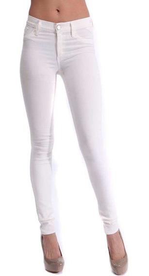 Pantalones Mujer Chupin Blanco Bengalina Tiro Alto 6 Cuotas