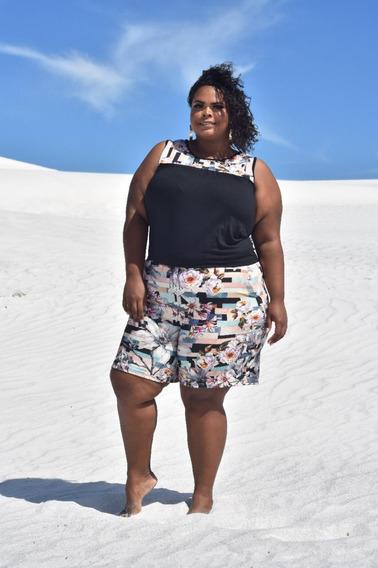 Macaquito Feminino Pantacourt Plus Size Curto Moda Verão Promoção